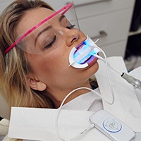 Patient receiving Glo teeth whitening treatment