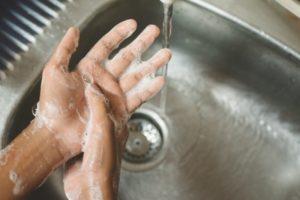 dentist washing their hands